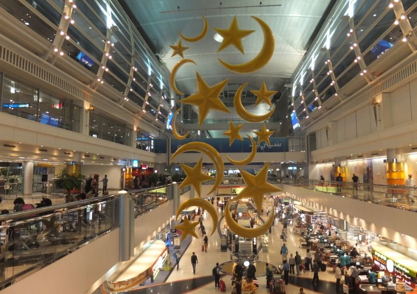 Airport concourse with star and moon decorations in UAE