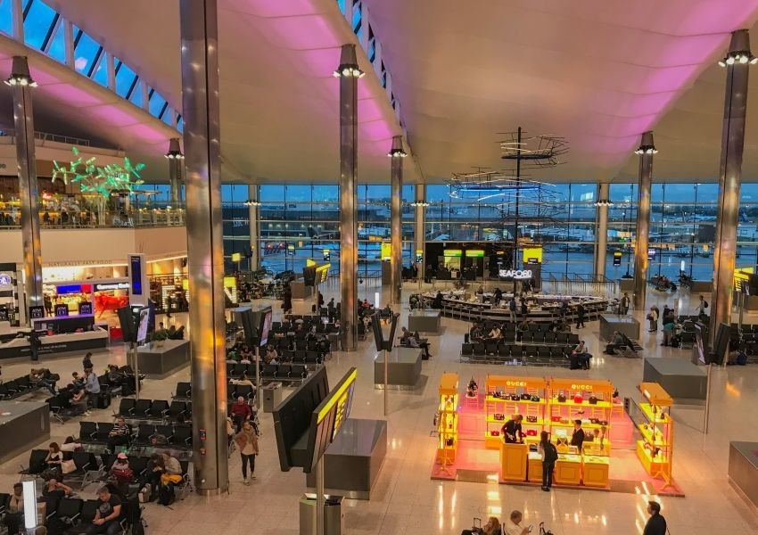 Airport in the UK at night