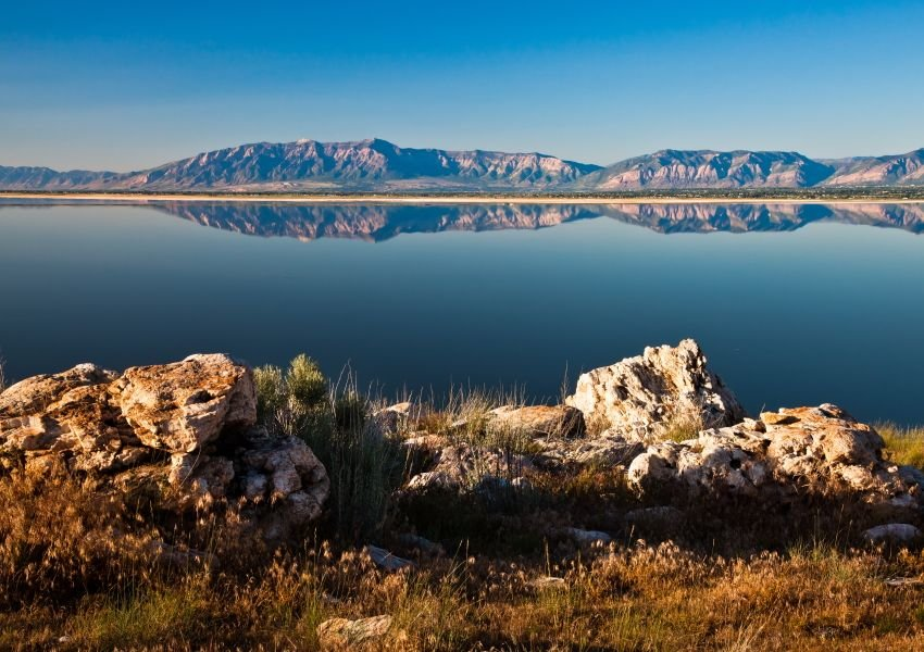Photo of mountains reflected in the Great Salt Lake