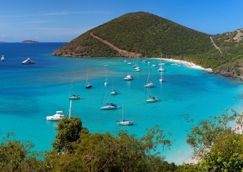 Photo of Tortola coastline with boats near the shore
