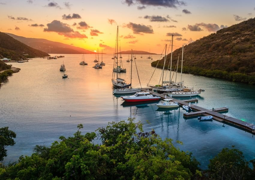 Photo of Virgin Gorda coastline at sunset