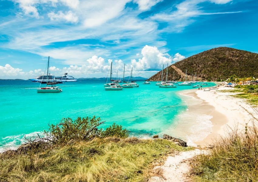Photo of bright blue water off the coast of Jost Van Dyke