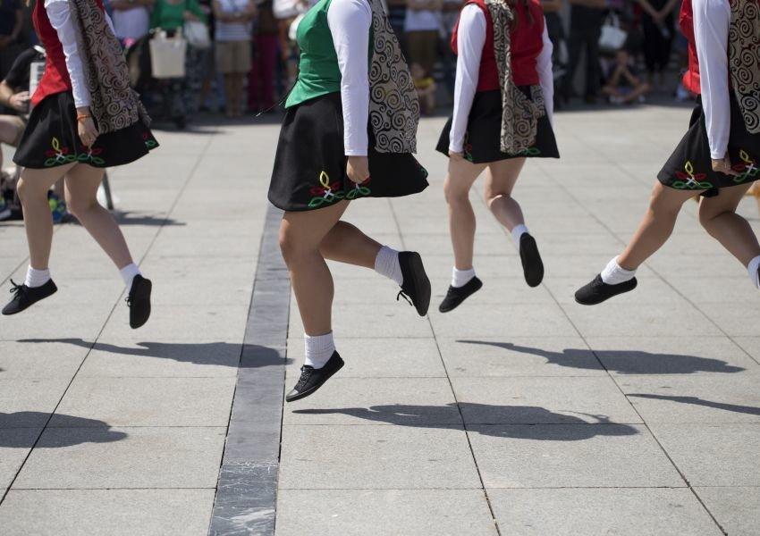 Irish dancers performing outdoors