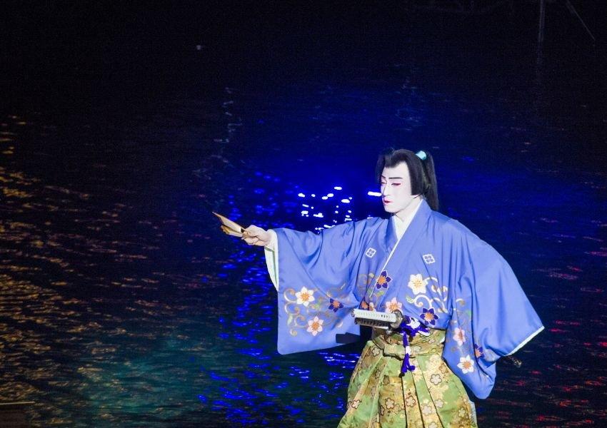 Photo of a Japanese Kabuki performance