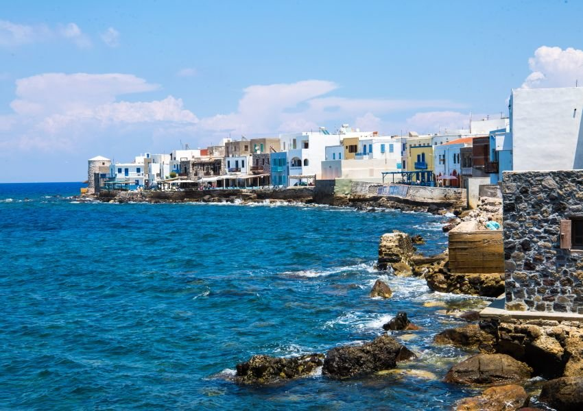 Photo of buildings along the coast of Nisyros