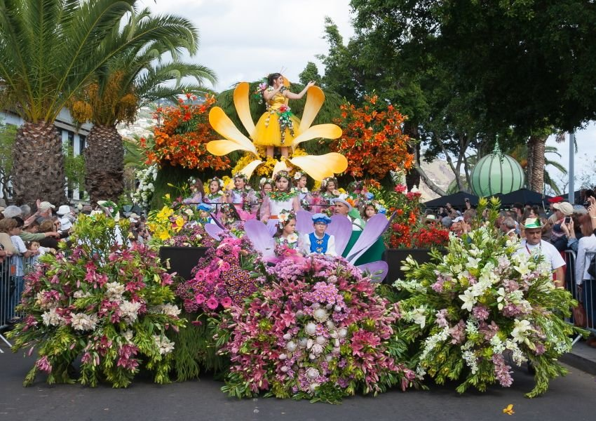 Photo of a decorated float in the Madeira Flower Festival