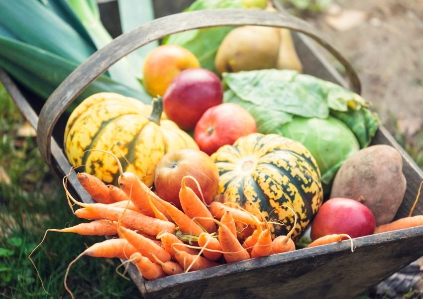 Photo of bright fruit and vegetables in a wooden basket