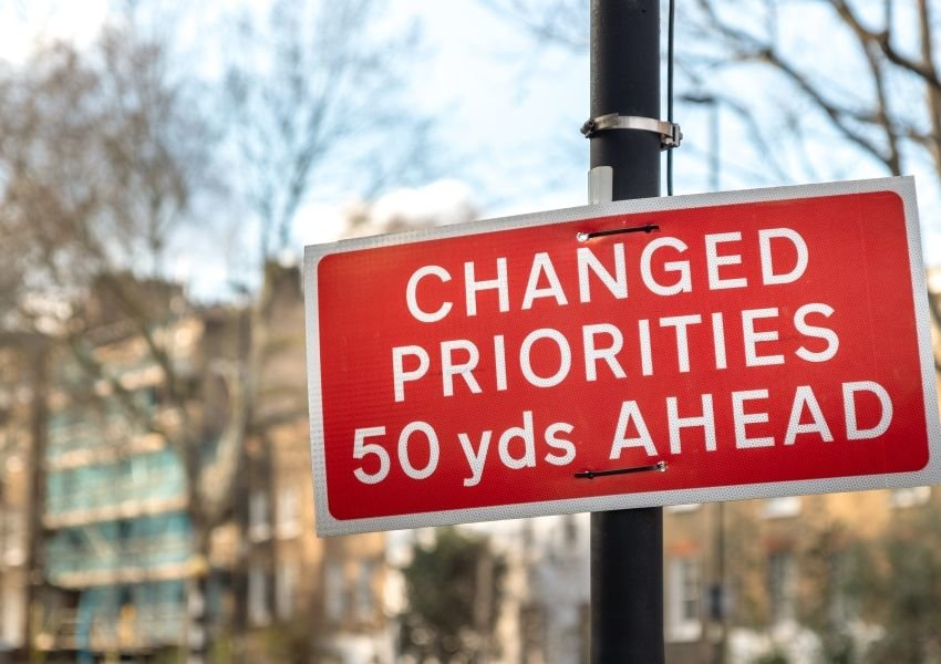 "Road sign in Britain that says ""Changed Priorities 50 yards ahead"""