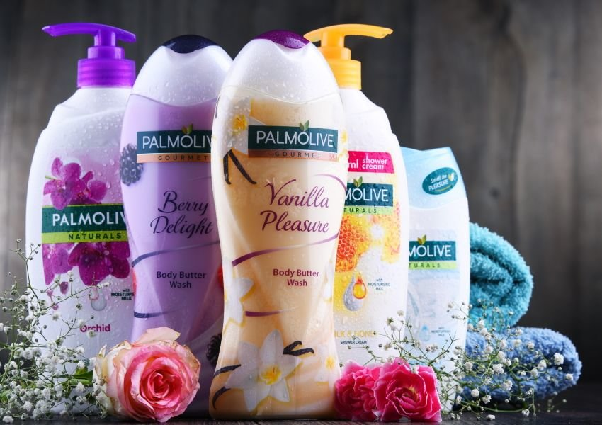 Bottles of Palmolive soap