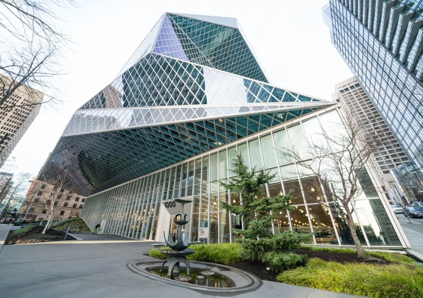Photo of the abstract glass exterior of Seattle Central Library