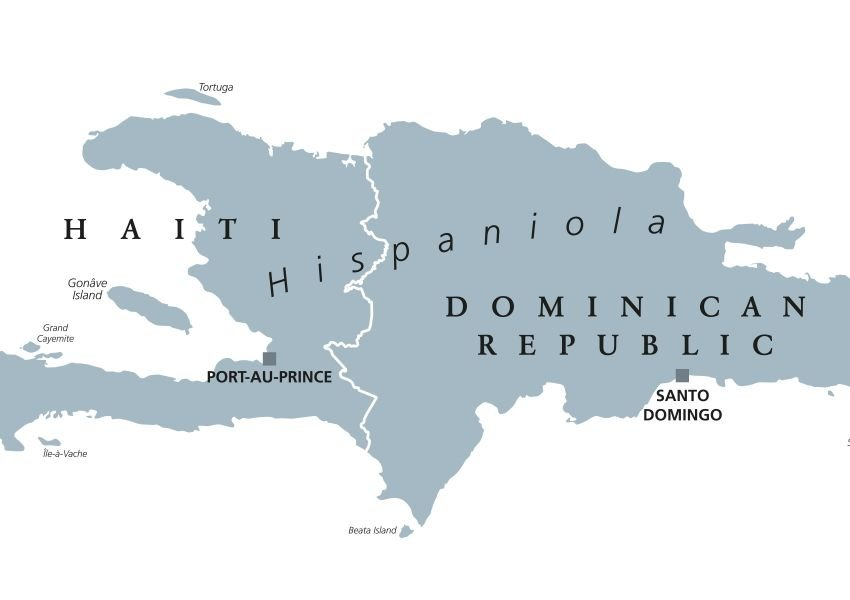 Map of the island of Hispaniola split between Haiti and the Dominican Republic
