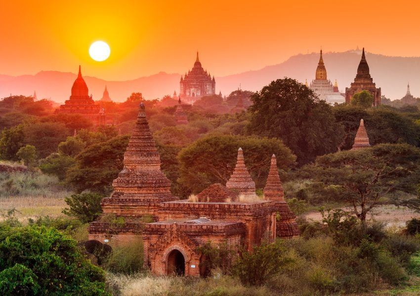 Ancient structures in Bagan at sunset