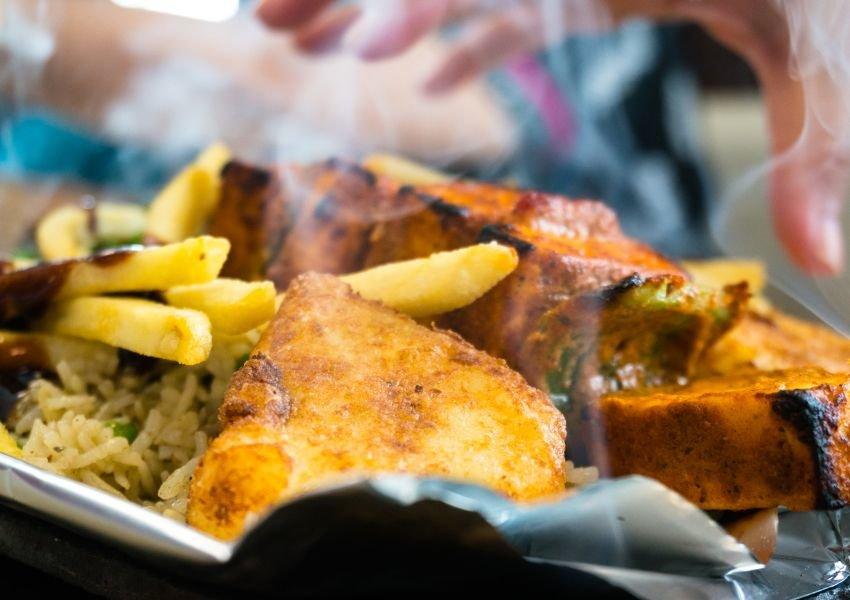 Steaming hot vegetarian dish