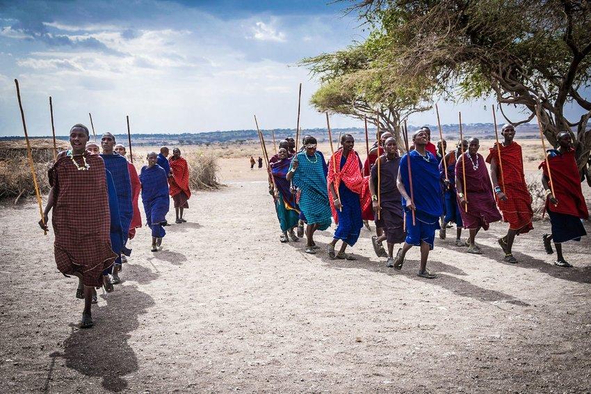 Group of men dancing in Africa