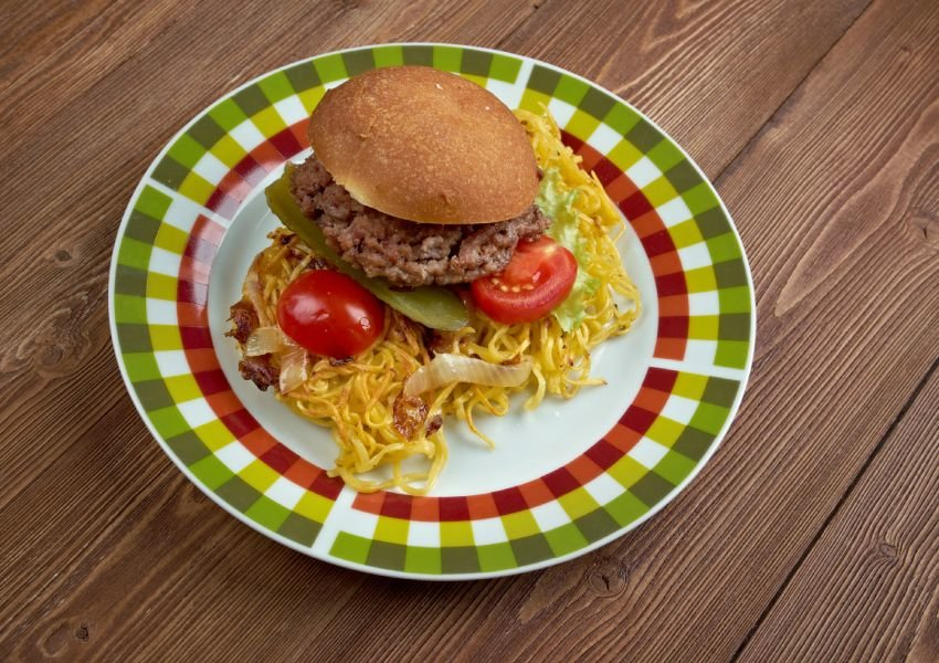 Chow mein sandwich on a checkered plate