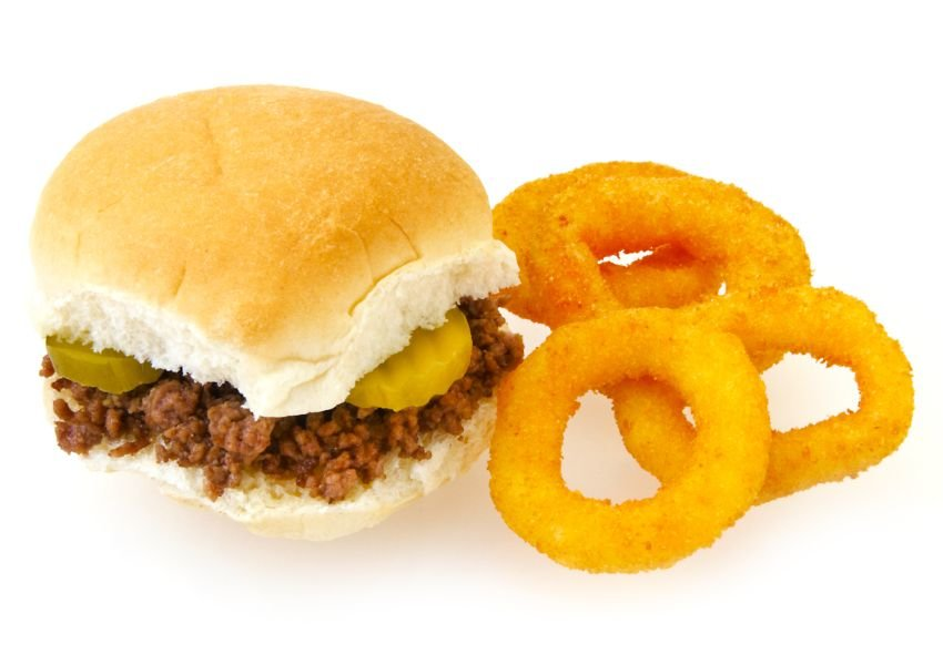 Onion rings and a Maid-Rite sandwich made with ground beef and pickles