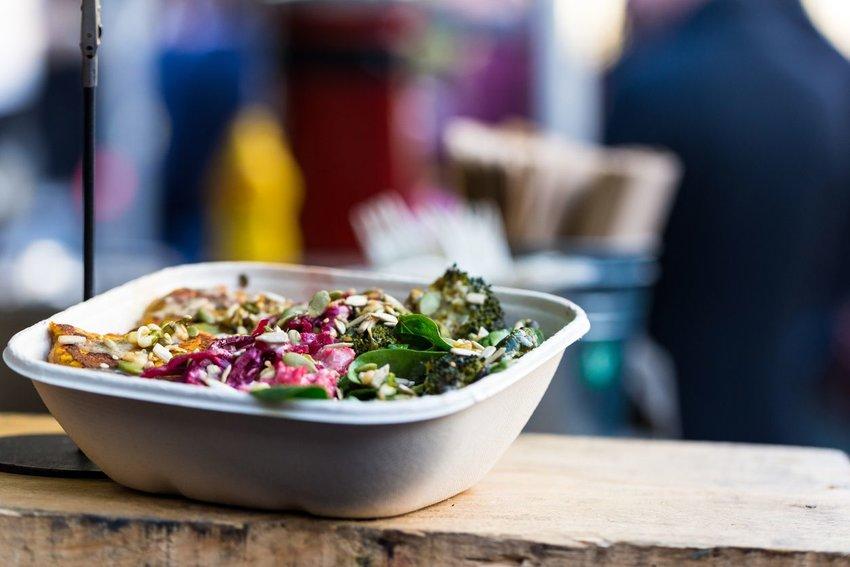 Vegetarian take away food at Borough Market, London