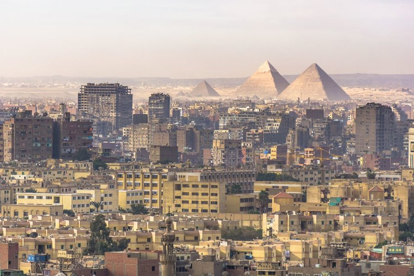 View from Cairo Citadel with buildings and pyramids