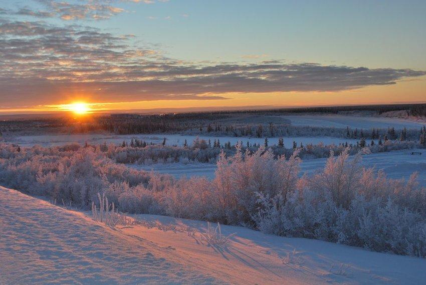 Sunset skyline in the Northwest Territories of Inuvik, Canada