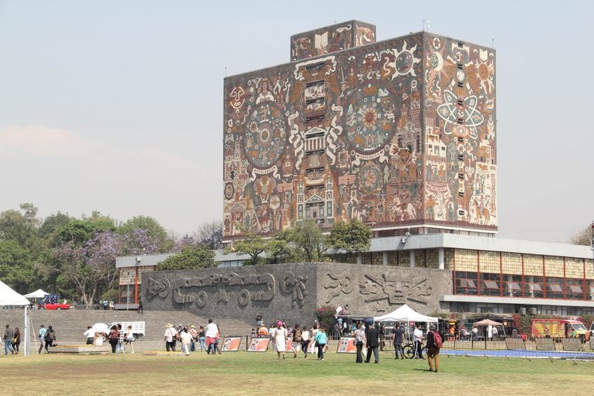The Central Library building with mural at the National Autonomous University of Mexico in Mexico City