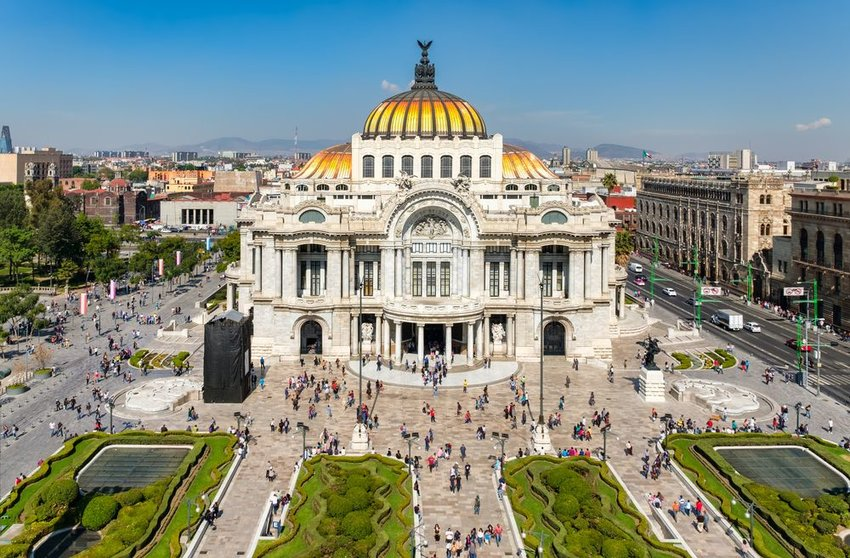 Aerial view of the Palace of Fine Arts during the day in Mexico City