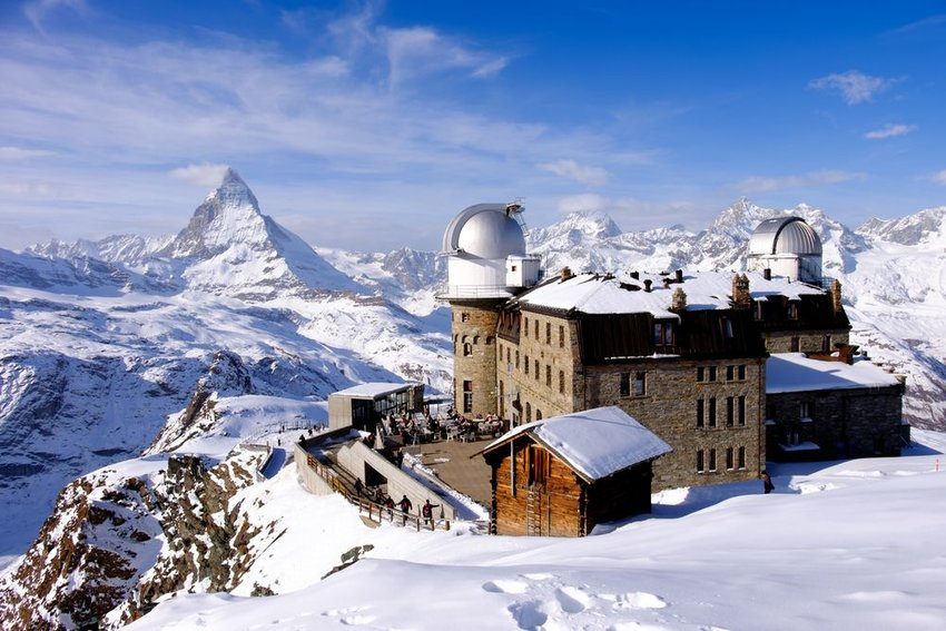 Aerial view of the Gornergrat Observatory on a clear day, Gornergrat, Zermatt, Switzerland