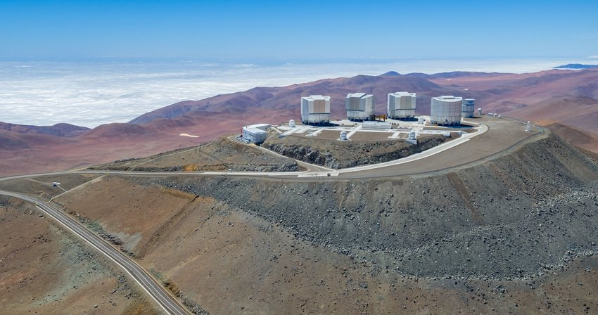 Aerial view of the Very Large Telescope in the Atacama Desert, Chile