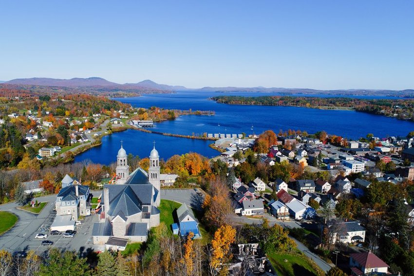 Aerial view of Lake Memphremagog in Newport, Vermont on a clear day