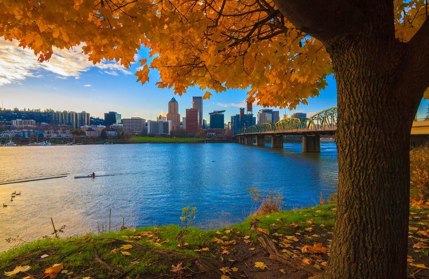 Willamette River landscape with Portland, Oregon in the background on a calm autumn day