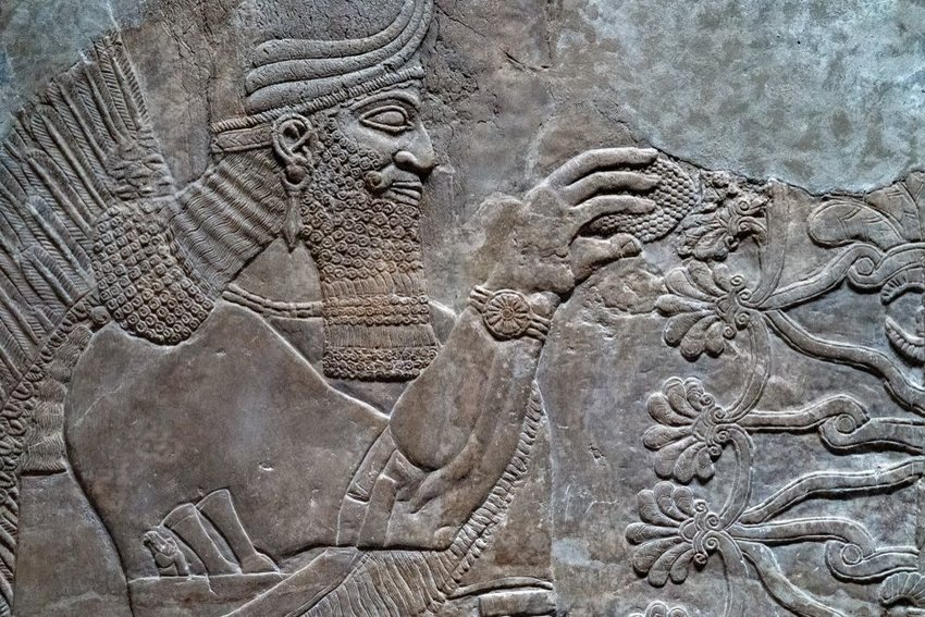 Close up view of Babylonian sculpture relief from Mesopotamia