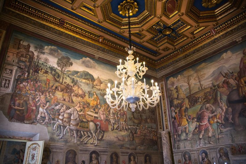 Interior of the Palazzo Nuovo Capitoline Museum with chandelier, Rome, Itialy