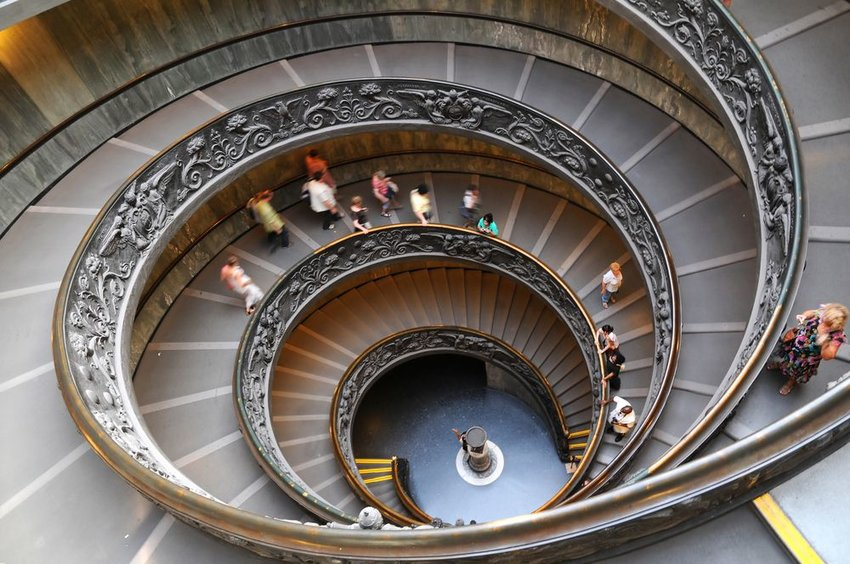 Interior view of large spiral staircase at the Vatican Museums in Vatican City