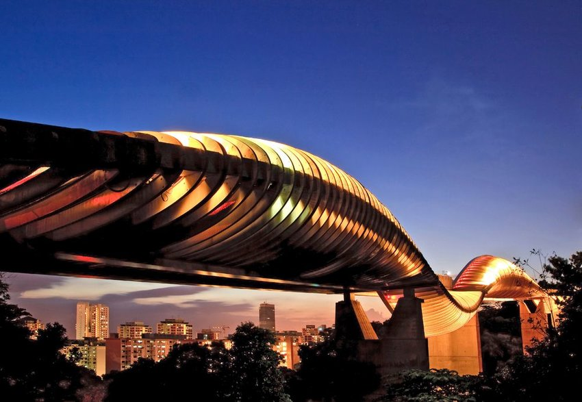 Aerial view of Singapore's Henderson Waves with sunset in background