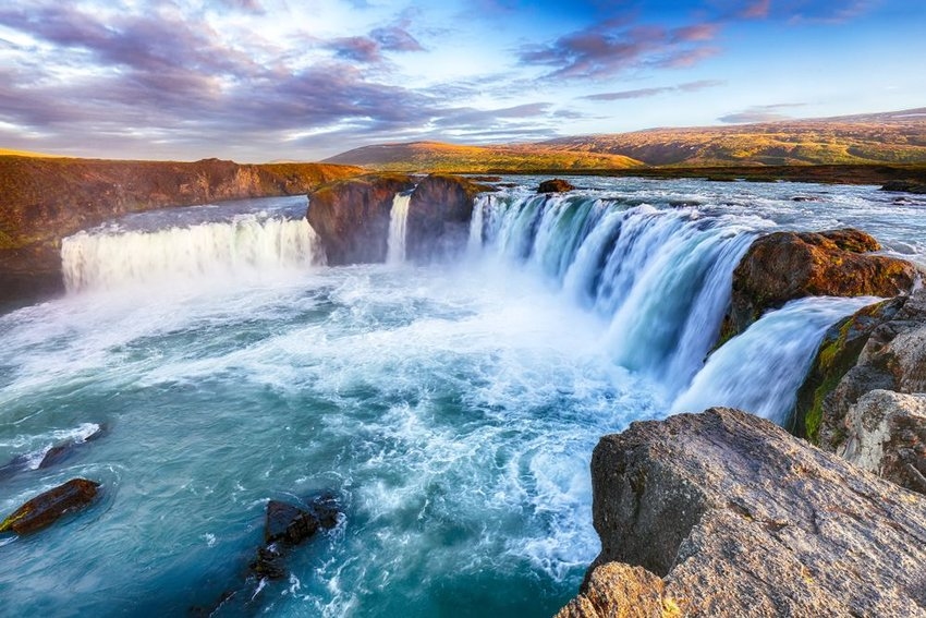 Aerial view of the Godafoss waterfall in Bardardalur valley, Skjalfandafljot river, Iceland
