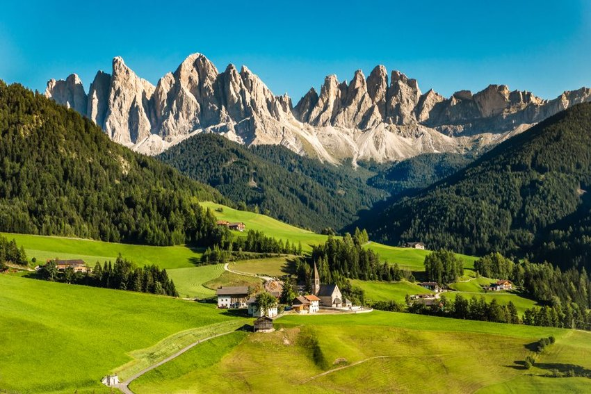 Aerial landscape of small settlements near the Dolomites in South Tyrol, Italy