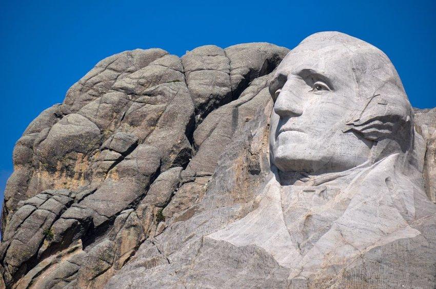 Photo of George Washington's face on Mount Rushmore