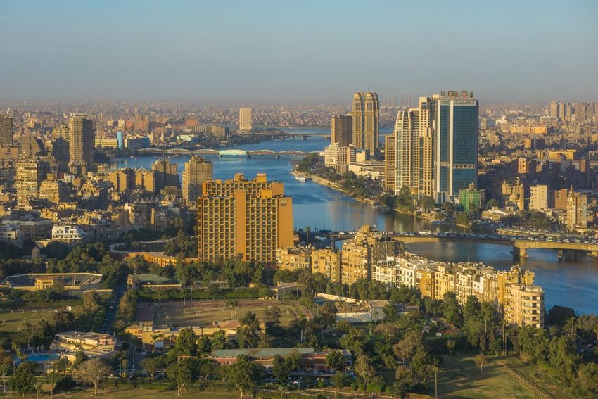 Photo of buildings and bridges along the Nile River
