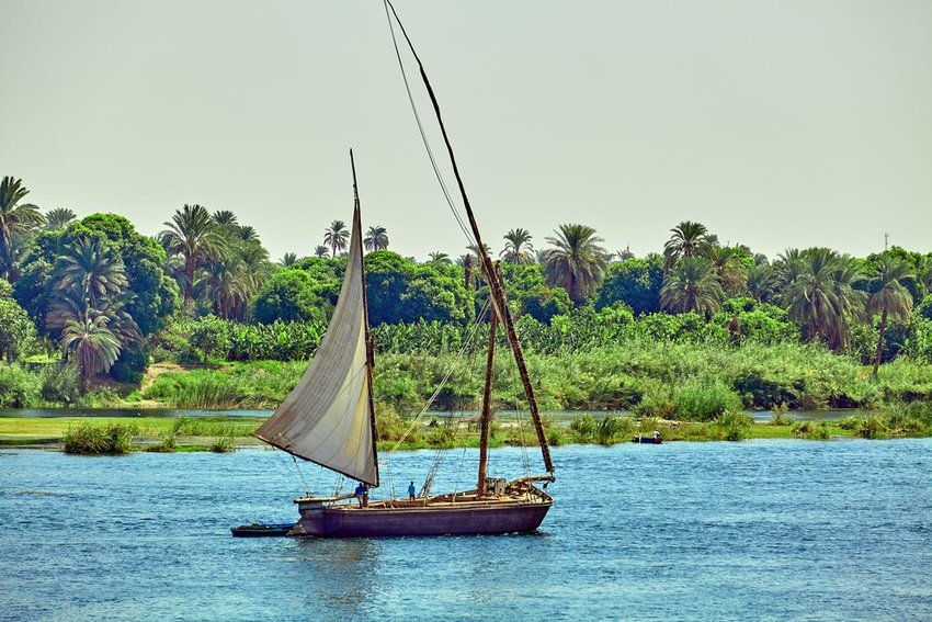 Photo of a sailboat on the Nile River