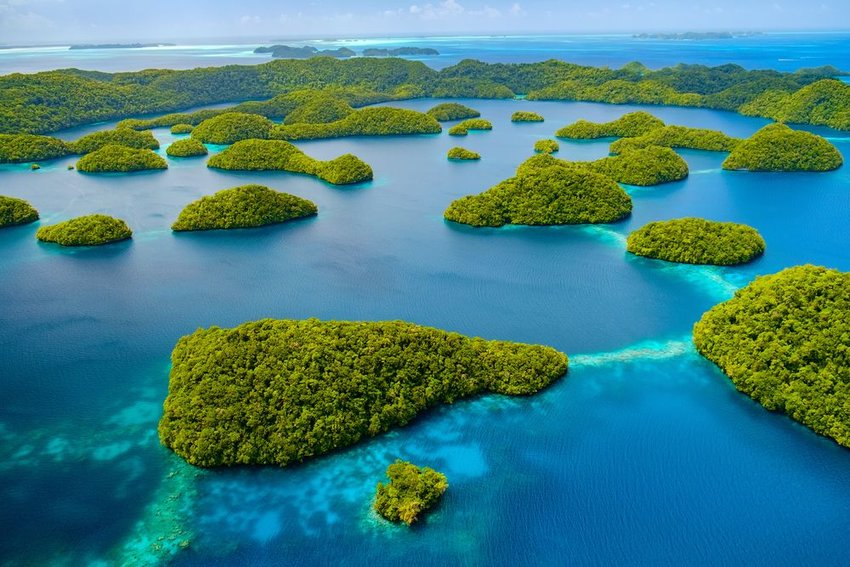 Aerial photo of lush tropical islands in the ocean
