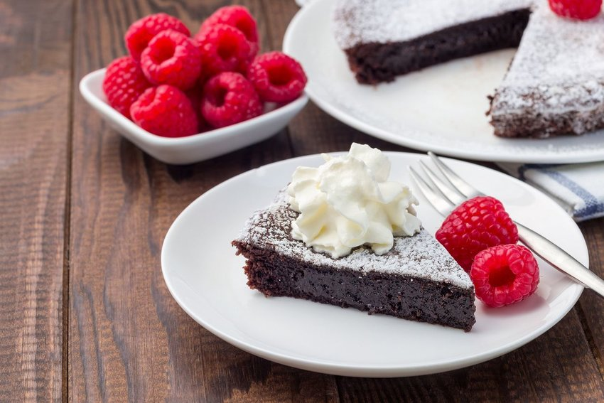 Photo of a chocolate cake with raspberries