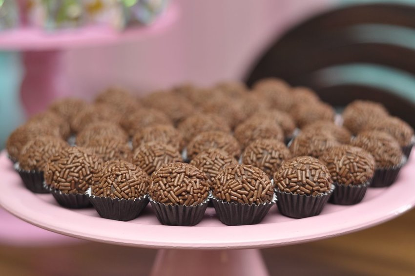 Photo of brigadeiro desserts on a plate