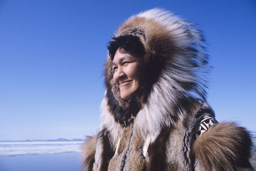 Photo of an Inuit person in traditional garb