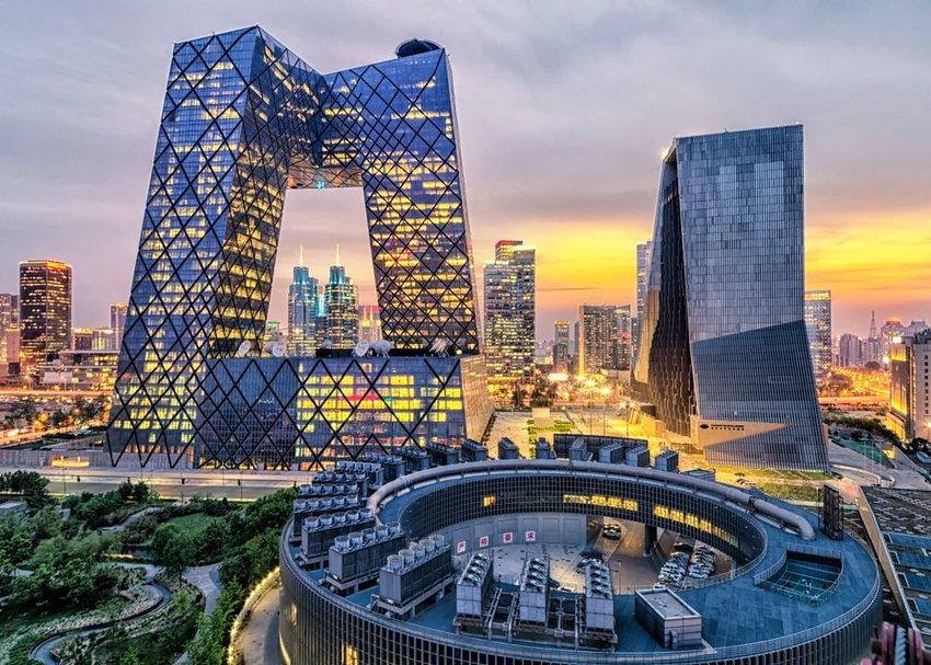Sunset skyline overlooking the posh city of Beijing, China
