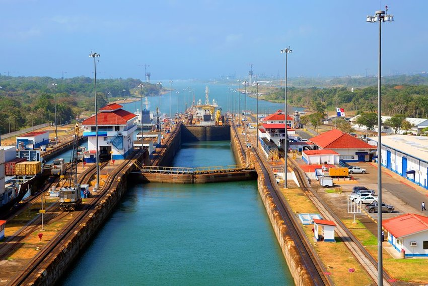 Aerial view of modern Panama Canal locks on a clear day