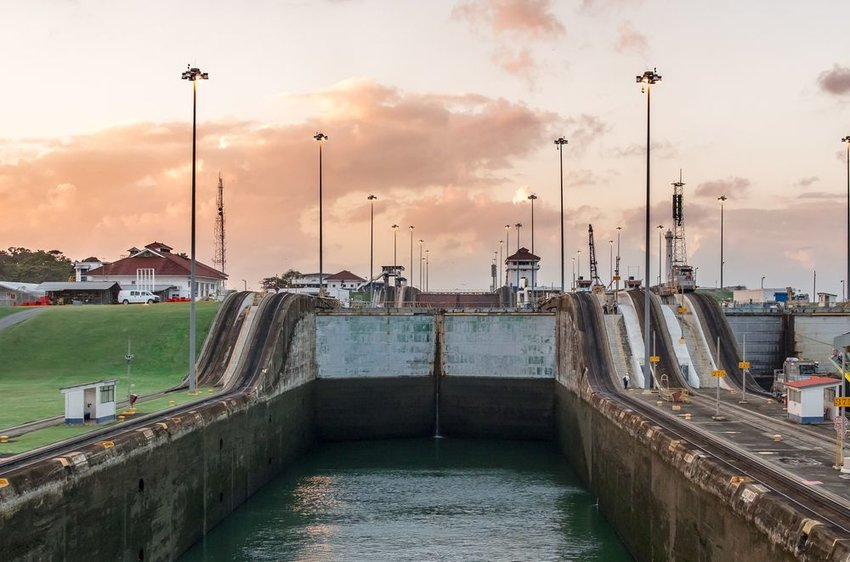 Close up view of the Panama Canal locks during a sunset