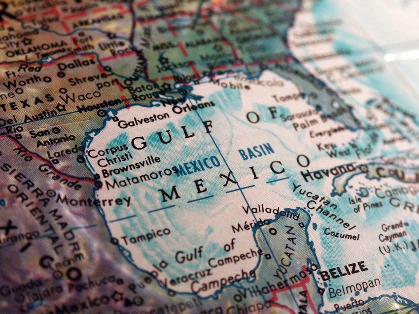 Close view of map showing the Gulf of Mexico