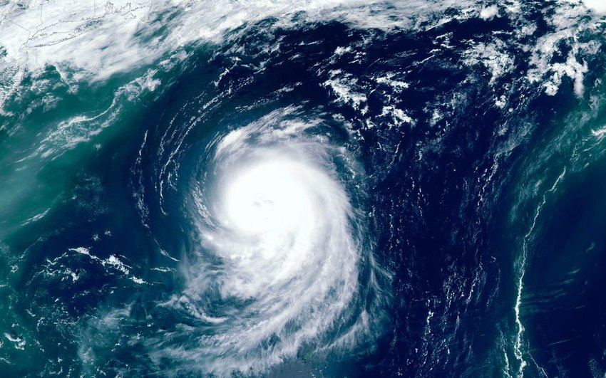 Satellite photo of a hurricane moving across the ocean