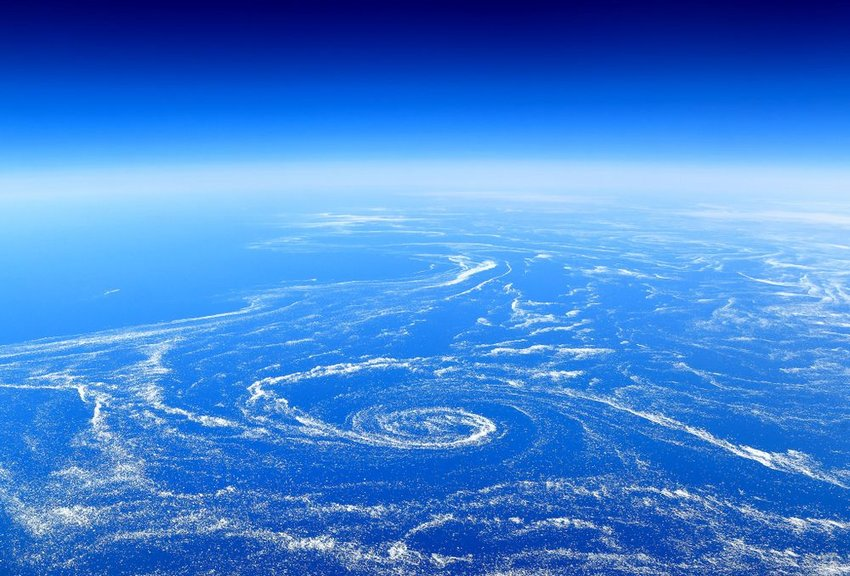Aerial view of floating sea ice trapped in marine currents