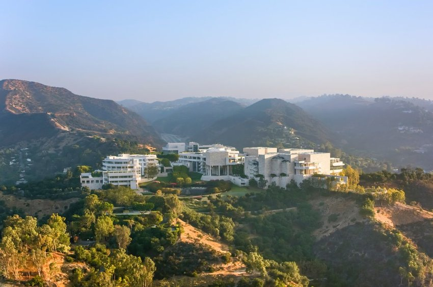 Photo of the Getty Center on top of a hill in Los Angeles