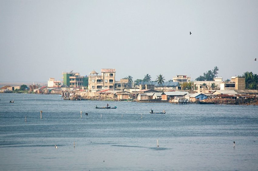 Cotonou, Benin photographed from across the water